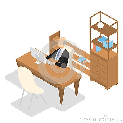 School principal sitting in his office and working