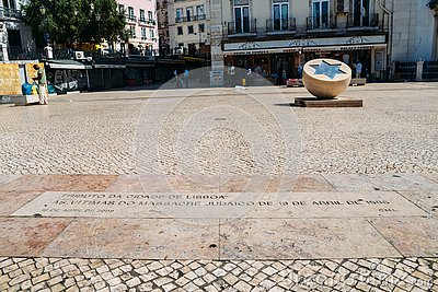 Monument to victims of Jewish pogrom on April 19 1506 in Lisbon, Portugal