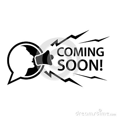 Coming soon with people and megaphone. Flat vector illustration on white background.