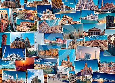 Photo collage made of diverse world travel destinations