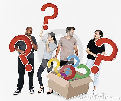 Curious people with question marks
