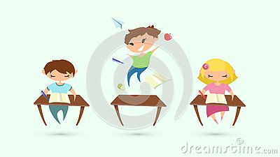 Children attention deficit hyperactivity disorder problem. Vector illustration of classroom. Children studying. Flat boys and