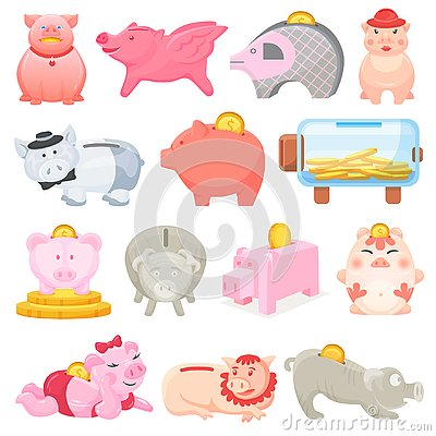 Piggy bank vector money pig box financial bank or money-box with investment savings and coins illustration set of