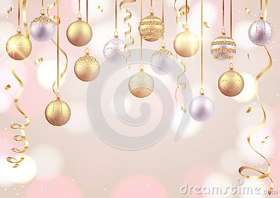 Merry Christmas and Happy New Year card, decorative balls on soft background