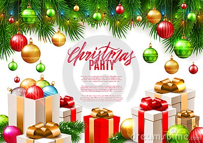 Christmas patry poster background design, decorative colorful balls