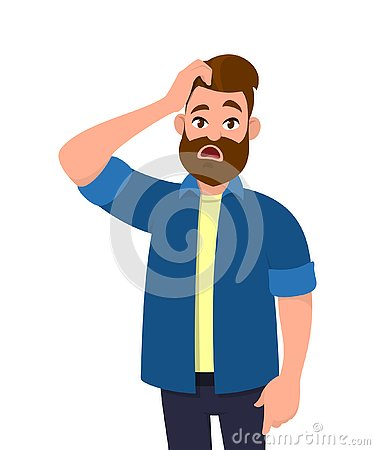 Confused young man scratching his head. Doubt, question, problem. Human emotion and body language concept illustration in vector.