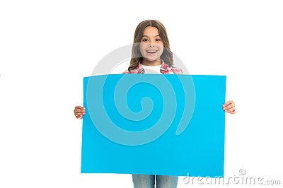 Girl kid hold blank surface copy space. Advertisement concept. Child cute girl happy carries blue paper place for