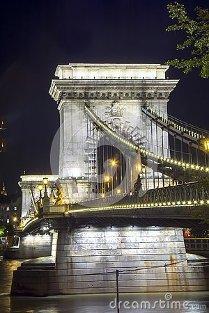 Chain Bridge over Danube river at night, Budapest, Hungary