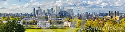 Ondon, England, Panoramic Skyline View Of Greenwich College and