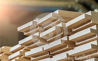 Wood timber construction material for background and texture. details wood production spike. composition wood products. abstract b