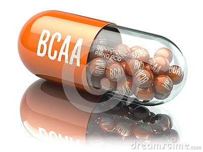 BCAA branched-chain amino acid capsiule isolated on white background. Sport nutrition for bodybuilding.