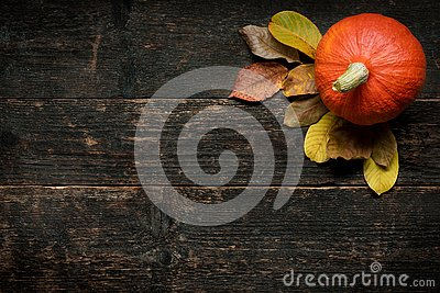 Autumn Harvest and Holiday still life. Happy Thanksgiving Background. Pumpkin and fallen leaves on dark wooden background.