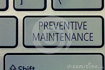 Writing note showing Preventive Maintenance. Business photo showcasing Avoid Breakdown done while machine still working