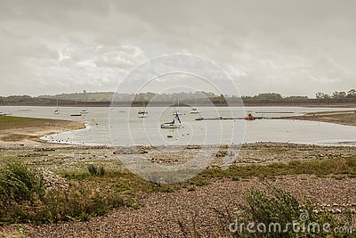 Carsington Water, Derbyshire, England - gloomy day by the lake.