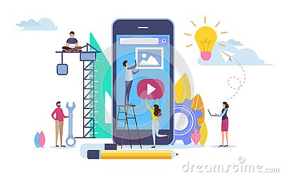Developer create application. Mobile app development. Cartoon illustration vector graphic