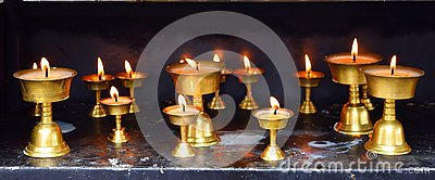 Row of Bronze Lamps - Diwali Festival in India - Spirituality, Religion and Worship