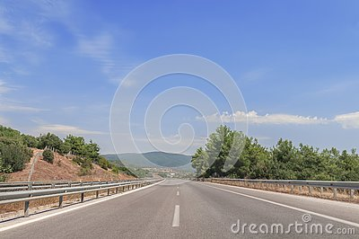 Highway road traffic street jurney with blue sky