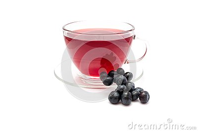 Blueberry tea in teaglass isolated on white background