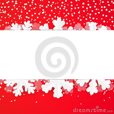 Red festive winter greeting card design template with paper snowflakes. Christmas and New Year background with copyspace and snowf