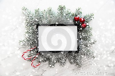 Christmas frame background with xmas tree and xmas decorations. Merry christmas greeting card, banner.
