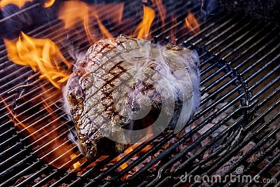 Porterhouse steak on the coals