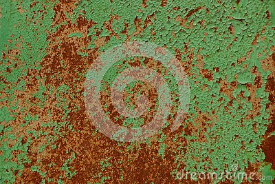Colored metal texture from a green rusty wall