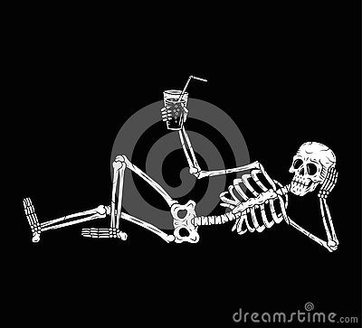 RESTING SKELETON WITH COCKTAIL CHEERS