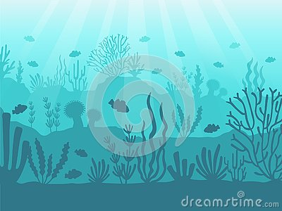 Underwater seascape. Ocean coral reef, deep sea bottom and swimming under water. Marine corals background vector