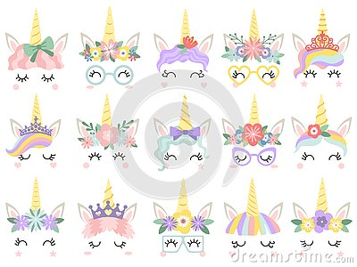 Unicorn face. Beautiful pony unicorns faces, magic horn in rainbow flower wreath and cute eyelashes vector illustration