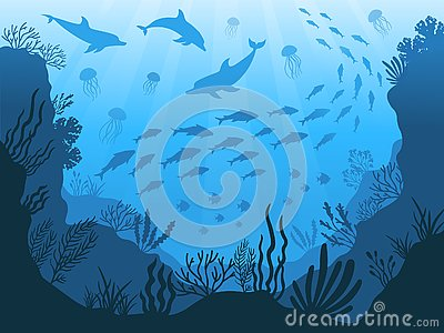 Underwater ocean fauna. Deep sea plants, fishes and animals. Marine seaweed, fish and animal silhouette vector