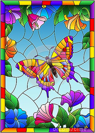 Stained glass illustration with a bright butterfly on a background of flowers and sky in a bright frame