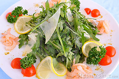 Fresh salad with a Parmesan and shrimps