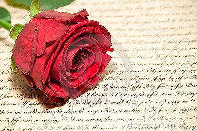 Red Rose with Letter