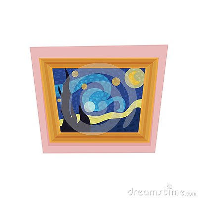 Famous painting of starry night by Vincent van Gogh. Museum exhibit. Art gallery theme. Flat vector for advertising