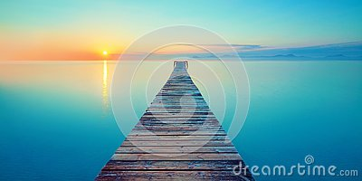 Footbridge sea beach meditation journey calm hormone sunset sea yoga