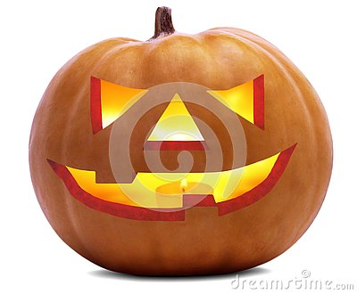 Halloween Pumpkin Scary Face is isolated over white and transparent background (Optional PNG file).