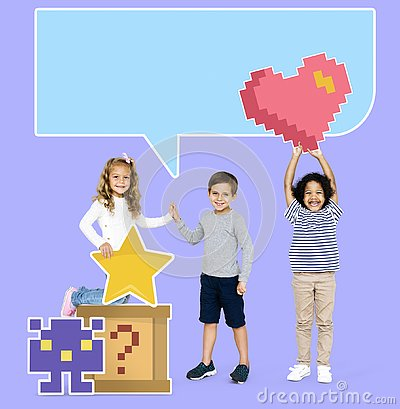 Happy diverse kids with pixilated gaming icons