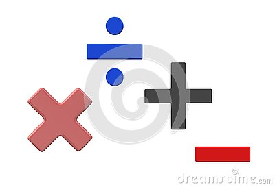 Symbols of basic mathematics - multiplication, division, addition and subtraction