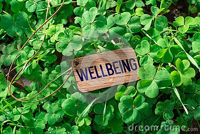 The word wellbeing wooden tag