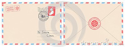 Dear santa claus mail envelope. Christmas surprise letter, child postcard with north pole postmark cachet vector