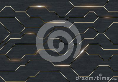 Seamless vector futuristic dark iron techno texture. Golden abstract electron energy line on brushed black metal background. Power