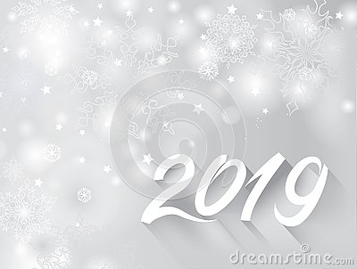 Happy New Year 2019 banner over snow blurry winter holiday backg