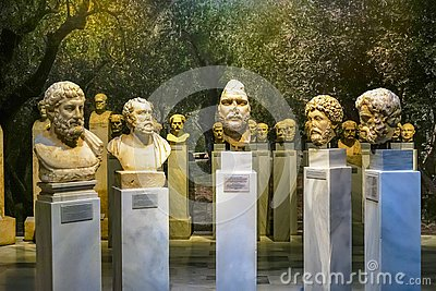 Ancient Roman Emperor Statues National Archaeological Museum Athens Greece