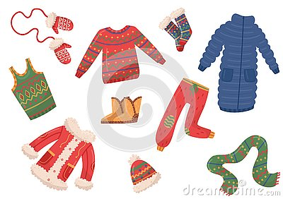 Flat vector set of winter clothes and accessories. Down jackets, pants and sweater, mittens, scarf and hat, boots and