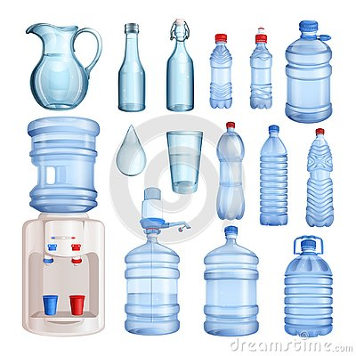 Water in plastic and glass bottles. Vector isolated objects set. Pure mineral water illustration