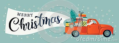 Merry christmas stylized typography. Vintage red car with santa claus, christmas tree and gift boxes. Vector flat style