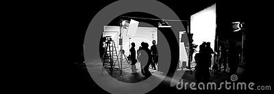 Silhouette images of video production behind the scenes