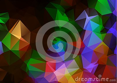 Abstract Dark Multicolor geometric rumpled triangular low poly origami style gradient illustration graphic background. Vector poly