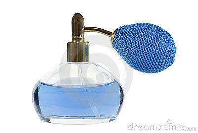 Blue perfume bottle