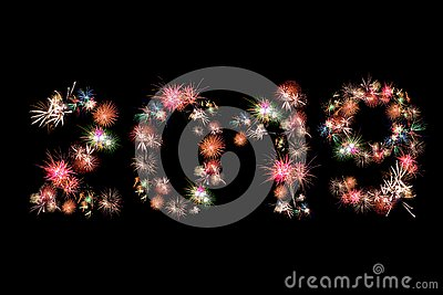 Happy new year 2019 fireworks colorful